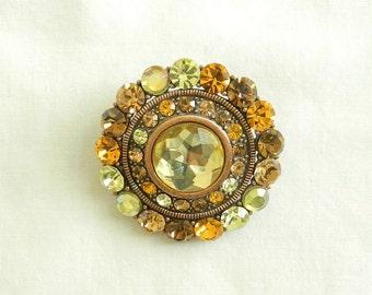 Beautiful Vintage Lemon Citrine and Gold Rhinestones Circle Brooch or Pendant