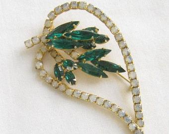 Vintage Emerald Green and Opalescent Rhinestones Leaf Brooch