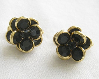 Vintage Black Crystal and Rhinestones Bezel Set Earrings