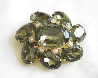 Vintage Dark Green and Clear Rhinestone Brooch or Pin