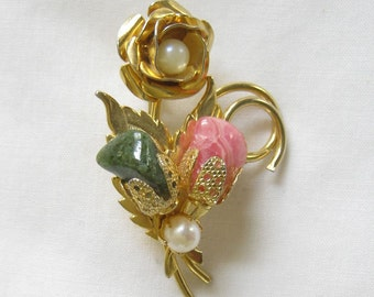 Vintage Jade and Rhodocrosite and Faux Pearl Brooch or Pin