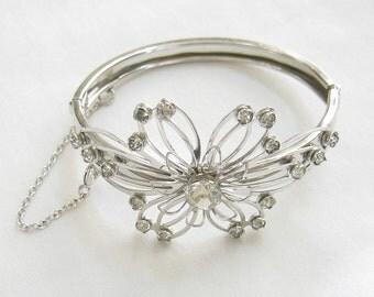 Vintage Clear Rhinestone Flower Spray Clamper Bracelet