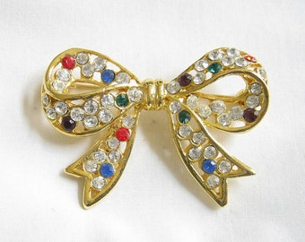 Vintage Multi Colored Rhinestone Bow Brooch
