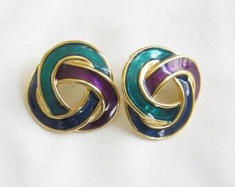 Vintage Green, Blue and Purple Enamel Earrings