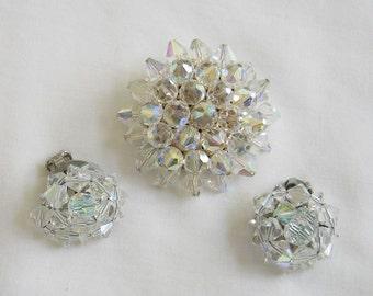 Vintage Crystal Brooch and Earings Demi Parure Set