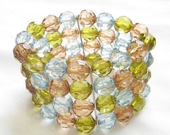 Vintage Pastel Multi Color Plastic Prystal Bead Stretch Bracelet