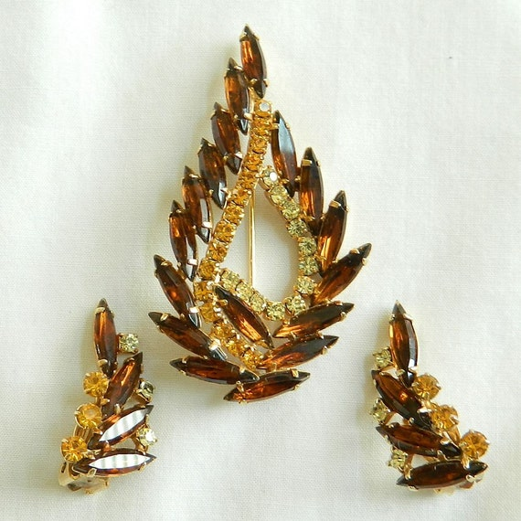 Vintage Amber and Topaz Rhinestone Earrings and Brooch Set or Demi Parure.