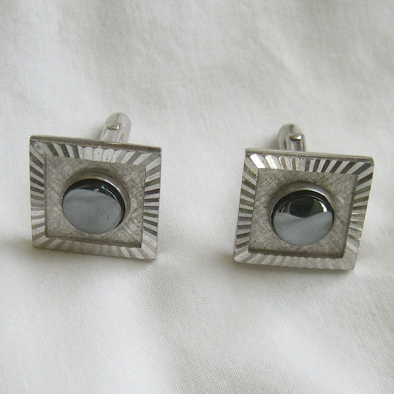Hermatite with Silver Tone Cuff Links Vintage Mad Men