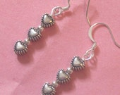 3 HEARTS Dangle Earrings - Simple Casual Jewelry - Mother's Day