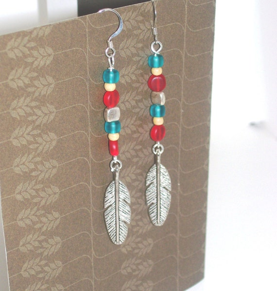 Native Spirit Long Boho Earrings - Tribal Jewelry - Red Teal Turquoise Silver