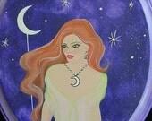 Original painting Moon Goddess with Swarovski Crystals