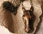 Let Me Adore You - horse necklace vintage brass
