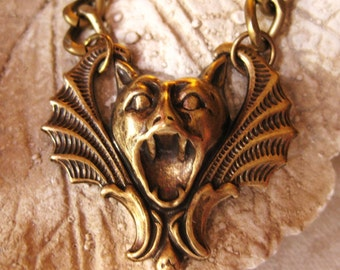 Bat Beauty - bat necklace vintage brass