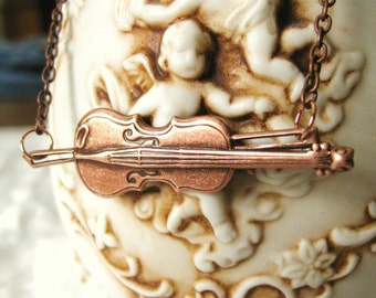 VIOLIN NECKLACE  Violin Gift Fiddle Necklace Music teacher gift Instrument Orchestra Violinist Violin player Violin Jewelry Violin Pendant