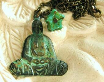 BUDDHA NECKLACE yoga necklace Buddha Pendant yoga jewelry buddha jewelry vintage verdigris green boho necklace spiritual jewelry handmade