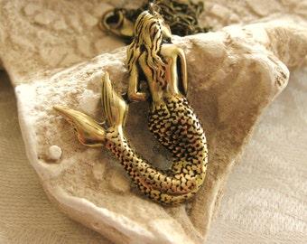 Mermaid Necklace Gold Mermaid Beach Jewelry Little Mermaid Friendship Nautical Necklace Ocean Sea Handmade Vintage Women Accessories