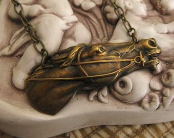 Oh, the Splendor - horse necklace vintage brass
