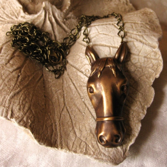 Let Me Adore You - horse necklace vintage brass