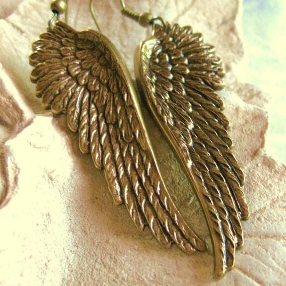 Angel Wing Earrings Antique Brass - ANGELO Di LUCE