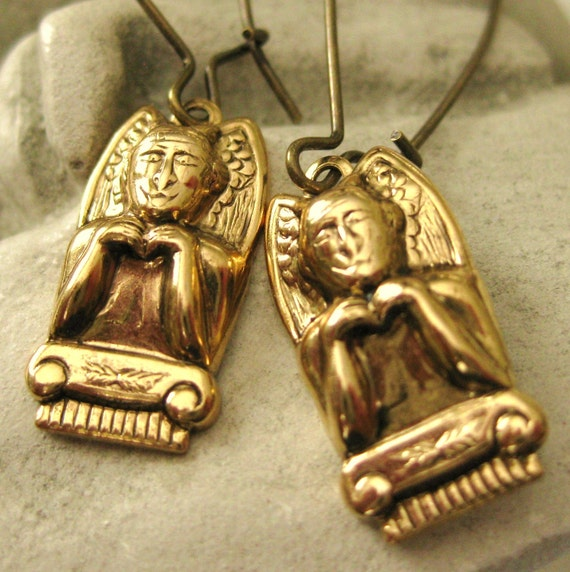 Gargoyle Earrings 2 vintage brass protection by TheQueensDowry
