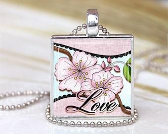 1 inch Pendant  Tray - Cherry Blossom  Love