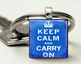 Keep Calm and Carry On Vintage Blue Key Chain