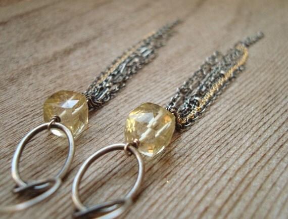 Tassel Fringe Earrings - Lemon Quartz, Oxidized Sterling Silver, 14kt Goldfilled Long Chain Earrings