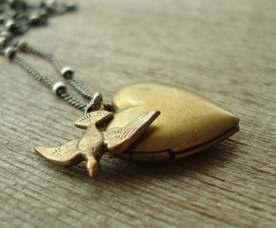 Heart Locket and Bird Necklace - Brass Charm Pendant on Oxidized Sterling Silver Chain