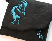 Quilted Purse, Kokopelli in Turquoise and Black, Crossbody Art Quilt Purse