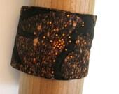 Fabric Cuff Bracelet - Discharged Black and Pumpkin