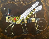 """Anthropomorphic Painting, Grasshopper Painting """"The Earl of Franklin,"""" a dapper grasshopper gentleman painting"""