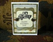 HAPPY FATHER'S DAY  note card with Classic Car Stamped Image