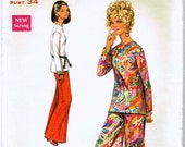 Vintage 1969 Bell Bottom Pants and Shirt Pattern  Size 12 Butterick 5130