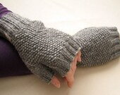 SALE Organic wool fingerless gloves