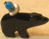 Black Onyx WALKING BEAR FETISH Healing And Protection