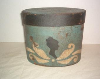 Williamsburg Blue Round French Hat Silhouette Box