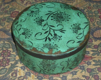 Robins Egg Blue Paper Mache Button Box 103