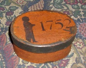 Paper Mache Primiitve  Colonial Pumpkin 1752 Silhouette   Box