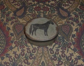 Paper Mache Vintage Pewter Horse Box 110