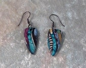 Dangle Earrings - Beaded Earrings - Stroppel Cane - Blue, Magenta, White Earring - Handcrafted - Polymer Clay Earrings - beckysuecreations