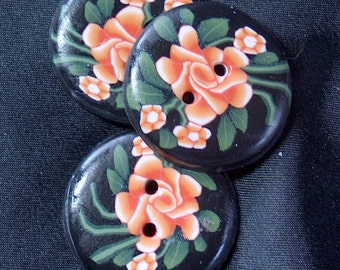 Orange Rose Green Leaves Black Buttons No. 86A