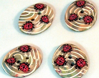 Oval Buttons,  Ladybug Oval Buttons, Large Button, Millefiori Polymer Clay No. 123