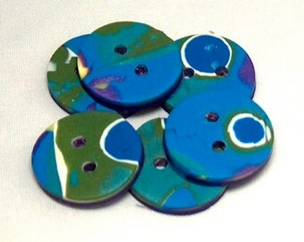Blue, Yellow, Purple and White Buttons, Round Buttons, Polymer Clay Buttons No. 117