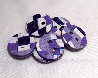Purple and White Buttons Plaid, Round Dress Buttons No. 110