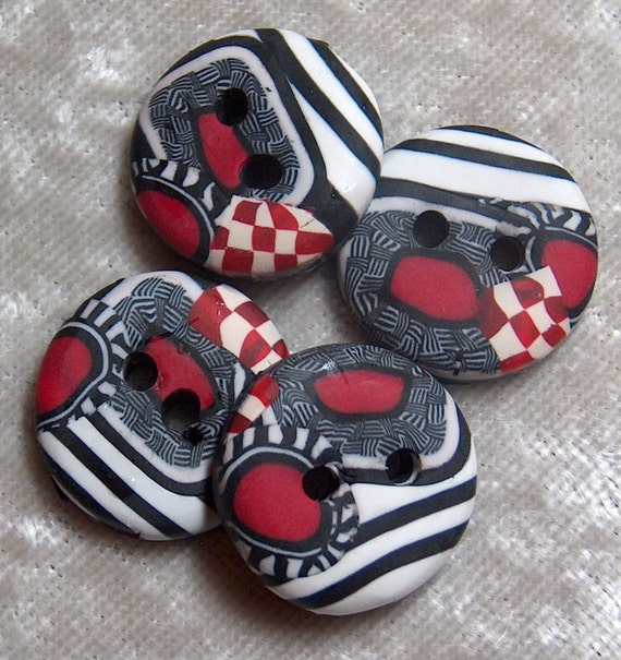 Handcrafted, Black, White and Red Round  Buttons Stripe Checker Polymer Clay No 48