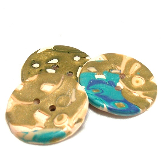 Olive Green, Tan, Turquoise Buttons, Large Buttons, Polymer Clay Buttons No. 118