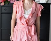 Romantic Wrap Top With Short Ruffled Sleeve, Thai Pink Jersey
