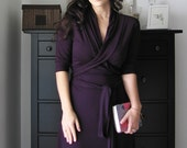 Wrap Dress With Shawl Collar  ( Short or Long Sleeved)  In Juicy Plum