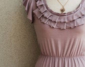 EXPRESS Pleated Neckline Dress With Ruffled Sleeves