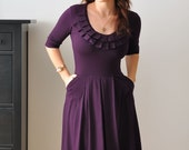 Pleated Neckline Dress With Short or Long sleeves, In Juicy Plum